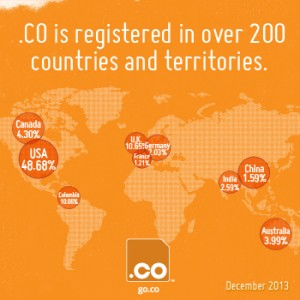 Top 10 Countries for .CO registrations